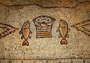 tile Mosaic on floor of ancient church commemorating the site of the feeding of the 5,000